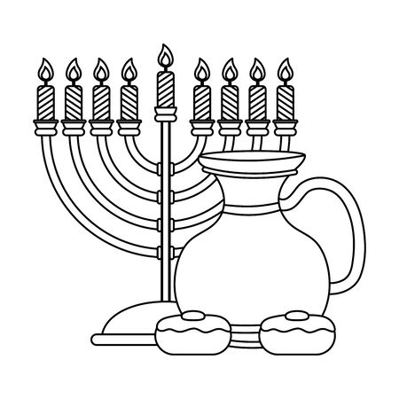 happy hanukkah teapot jar with chandelier and cupcakes vector illustration design