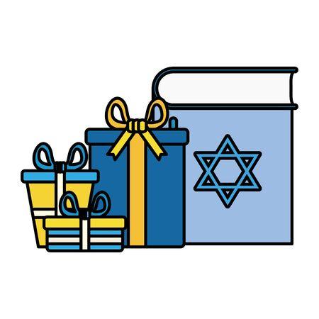 happy hanukkahkoran book with gifts boxes vector illustration design