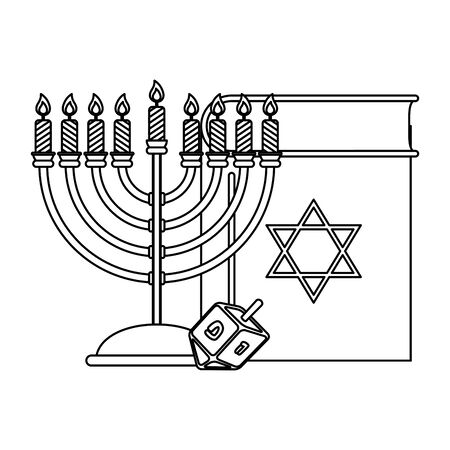 happy hanukkah koran book with chandelier and pyrinola vector illustration design