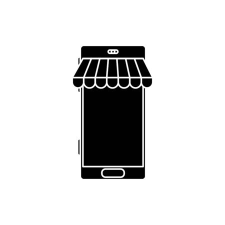 silhouette of smartphone with parasol store isolated icon vector illustration design