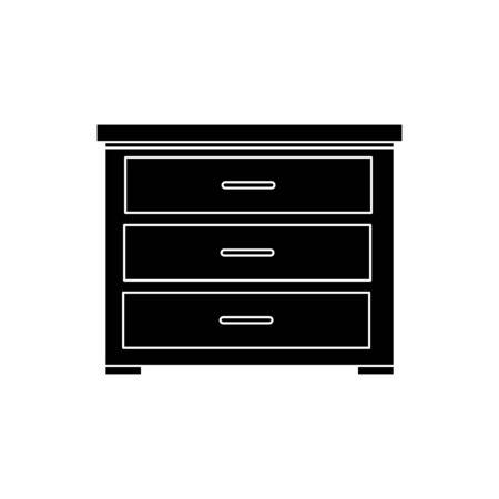 silhouette of wooden drawer furniture isolated icon vector illustration design Ilustração