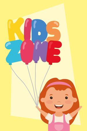 little girl with kids zone balloons helium vector illustration design