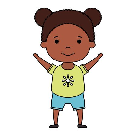 cute little afro girl comic character vector illustration design