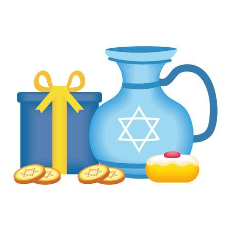 happy hanukkah teapot jar with sweet cupcake and coins vector illustration design