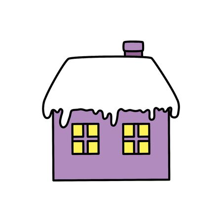 house with snow isolated icon vector illustration design