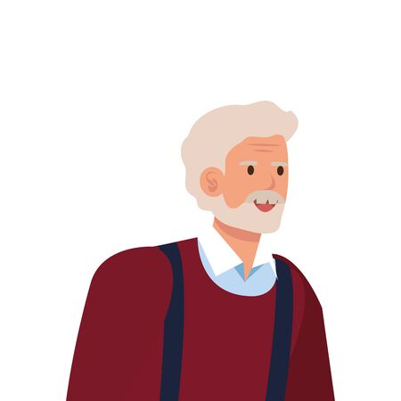 old man elegant avatar character vector illustration design