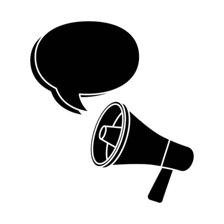 silhouette of megaphone with speech bubble isolated icon vector illustration design Vetores