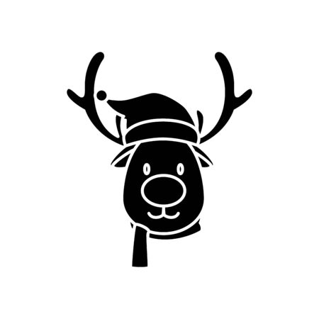 silhouette of face reindeer character merry christmas vector illustration design