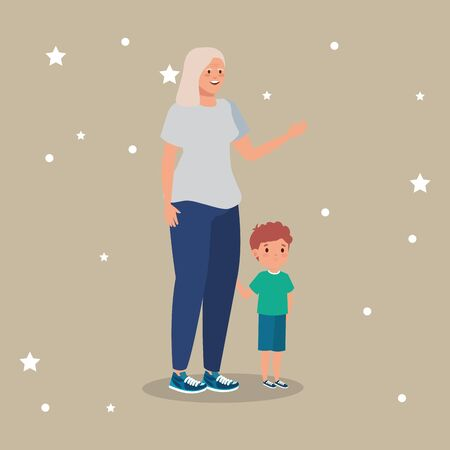 grandmother with grandson avatar character vector illustration design