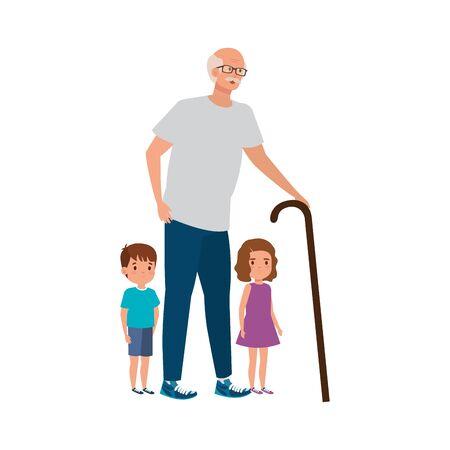 grandfather with grandchildren avatar character vector illustration design