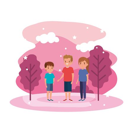 cute little children in landscape scene vector illustration design