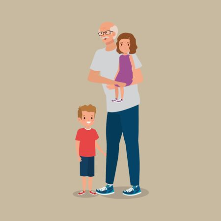grandfather with grandchildren avatar character vector illustration design