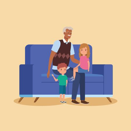 grandfather with grandchildren in sofa seated vector illustration design  イラスト・ベクター素材