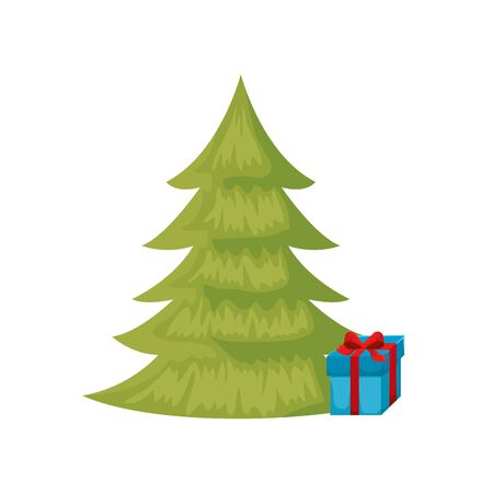 pine tree christmas with gift box isolated icon vector illustration design