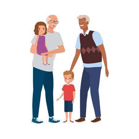 group of grandparents with grandchildren vector illustration design  イラスト・ベクター素材