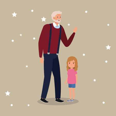 grandfather with granddaughter avatar character vector illustration design