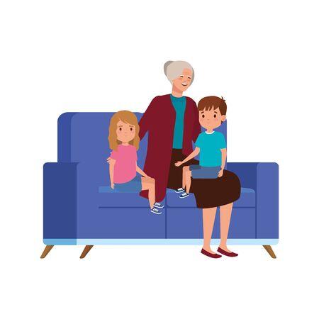 grandmother with grandchildren sitting in sofa vector illustration design