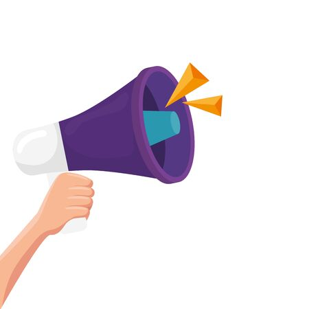 hand with megaphone isolated icon vector illustration design Vetores