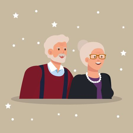 grandparents couple elegant avatar character vector illustration design