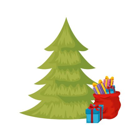 pine tree christmas with gift boxes isolated icon vector illustration design