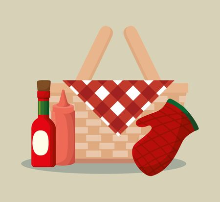 basket wicker barbecue with bottles and glove vector illustration design Ilustracja