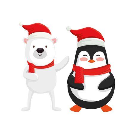 Lindos personajes de oso y pingüino feliz navidad, diseño de ilustraciones vectoriales