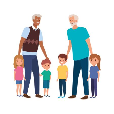 group of grandparents with grandchildren vector illustration design 向量圖像