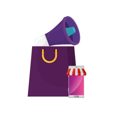 megaphone with smartphone and bag shopping isolated icon vector illustration design