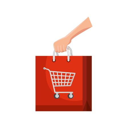 hand and bag with cart shopping isolated icon vector illustration design
