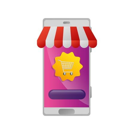 smartphone with parasol store and cart shopping vector illustration design Ilustracja