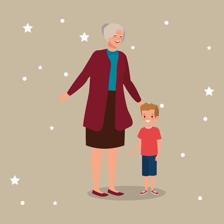 grandmother with grandson avatar character vector illustration design