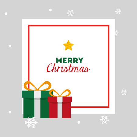 merry christmas card with gift boxes and square frame vector illustration design Illustration