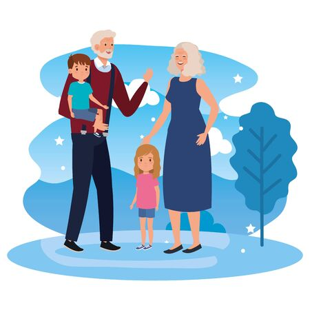 grandparents with grandchildren in landscape vector illustration design  イラスト・ベクター素材