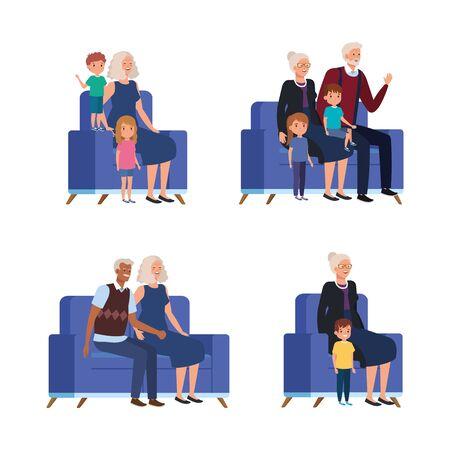 scenes of grandparents with grandchildren seated in sofa sofa vector illustration design