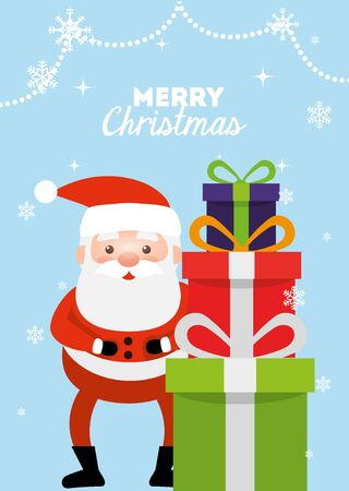 merry christmas poster with santa claus and gift boxes vector illustration design Illustration