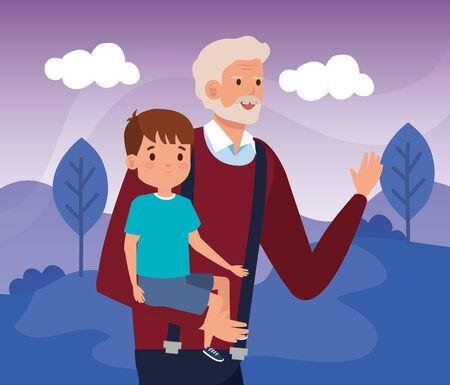 grandfather with grandson in scene landscape vector illustration design