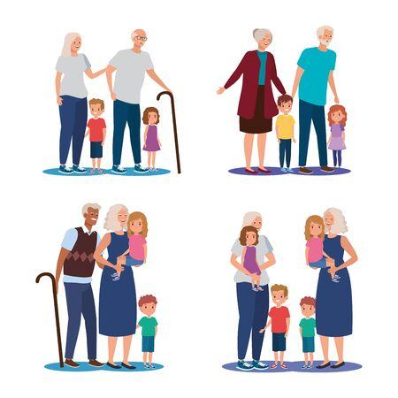 scenes of grandparents with grandchildren avatar character vector illustration design  イラスト・ベクター素材