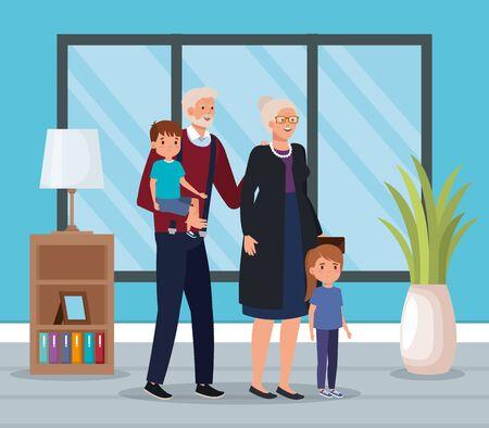 grandparents with grandchildren indoor scene house vector illustration design