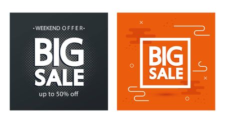 set commercial labels with big sale offer lettering vector illustration design