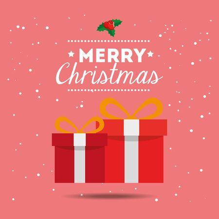 merry christmas poster with gift box vector illustration design Illustration