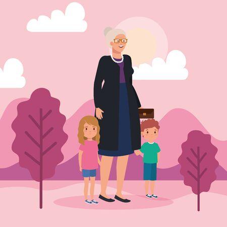 grandmother with grandchildren in landscape scene vector illustration design