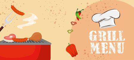 grill menu with delicious food and vegetables vector illustration design Illusztráció