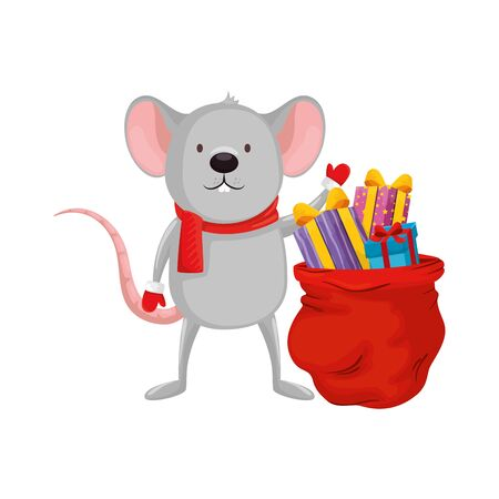 mouse and bag with gifts of merry christmas vector illustration design