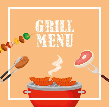 grill menu with delicious food in square frame vector illustration design