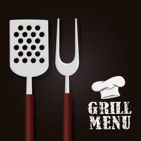 grill menu with cutlery and hat chef vector illustration design Illusztráció
