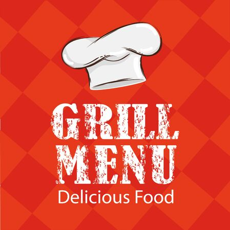 poster of grill menu lettering with hat chef vector illustration design