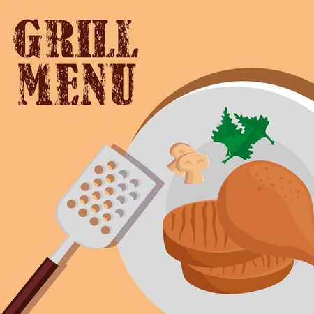 grill menu with delicious food in dish vector illustration design
