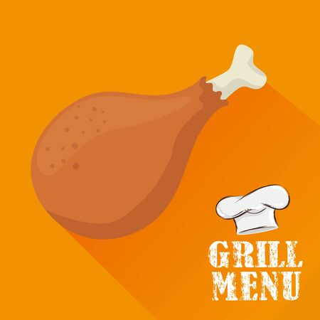 grill menu with delicious chicken and hat chef vector illustration design