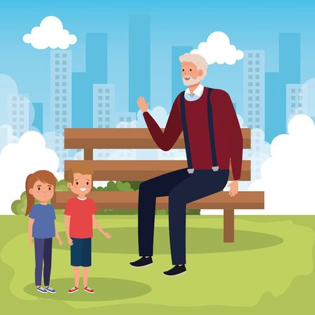 grandfather with grandchildren in park scene vector illustration design