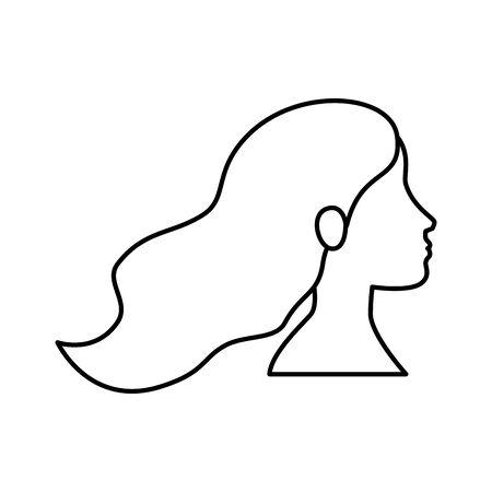 profile of woman head line style icon vector illustration design